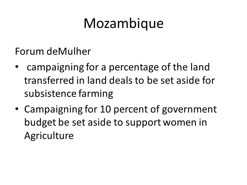 Mozambique Forum deMulher campaigning for a percentage of the land transferred in land deals to be set aside for subsistence farming Campaigning for 10 percent of government budget be set aside to support women in Agriculture