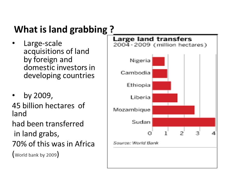 The drivers of Land Grabbing Market pressures Urbanization globalization Pension funds Increasing demand for food Increasing demand for biofuels Mineral excavation