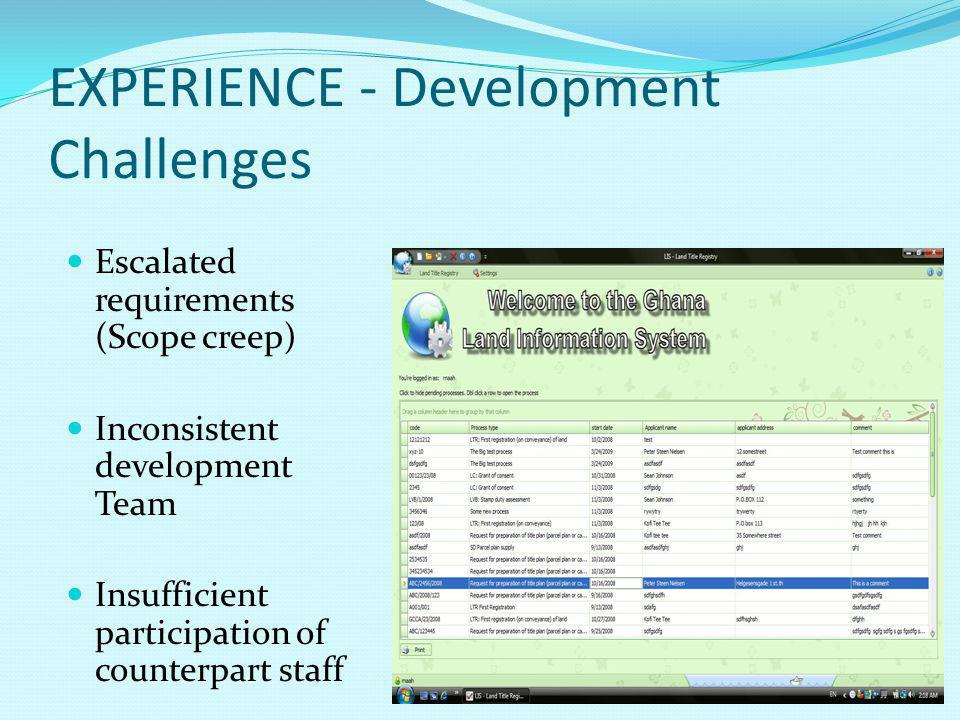 EXPERIENCE - Development Challenges Escalated requirements (Scope creep) Inconsistent development Team Insufficient participation of counterpart staff