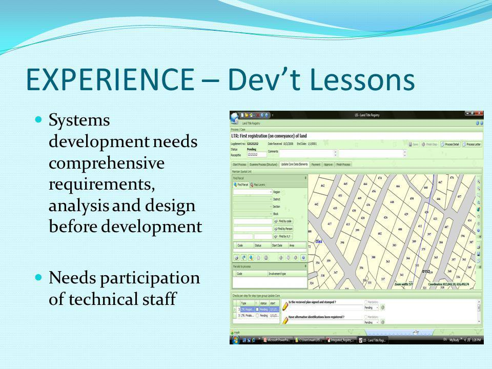 EXPERIENCE – Dev't Lessons Systems development needs comprehensive requirements, analysis and design before development Needs participation of technical staff