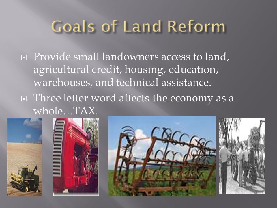  Provide small landowners access to land, agricultural credit, housing, education, warehouses, and technical assistance.  Three letter word affects