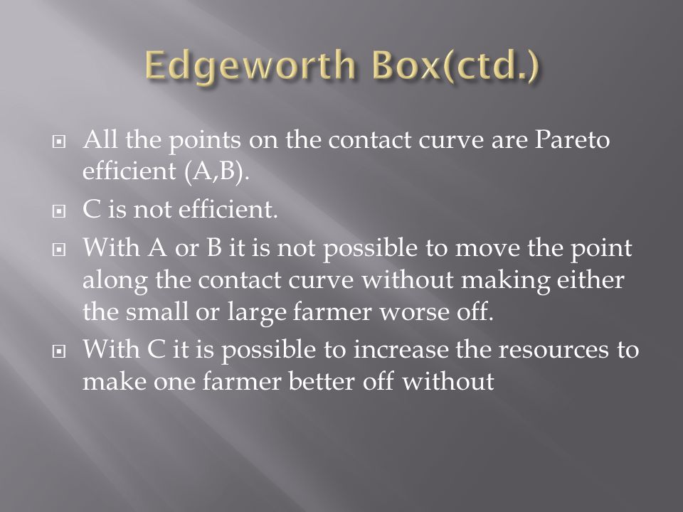  All the points on the contact curve are Pareto efficient (A,B).