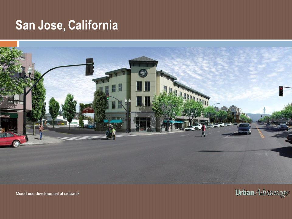 San Jose, California Mixed-use development at sidewalk