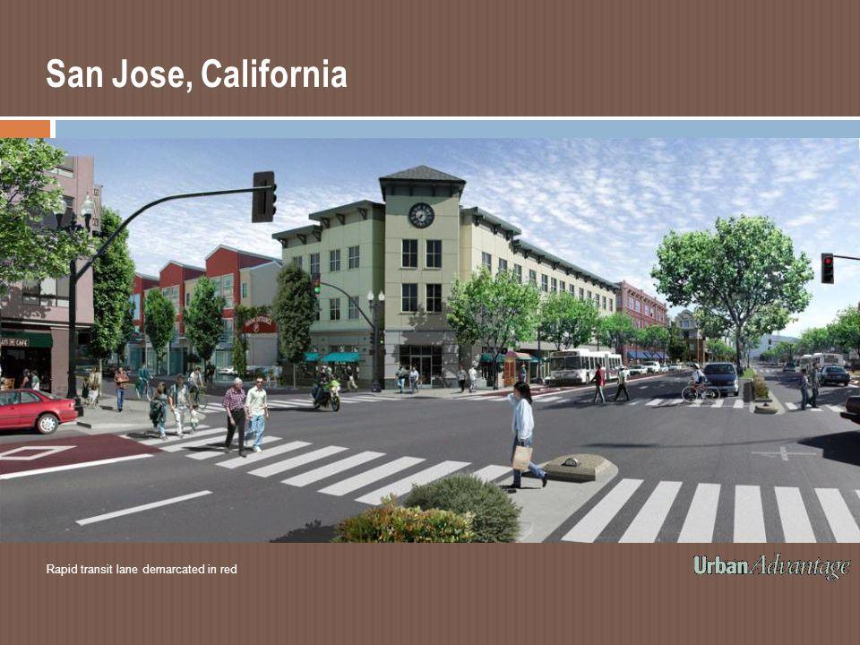 San Jose, California Rapid transit lane demarcated in red