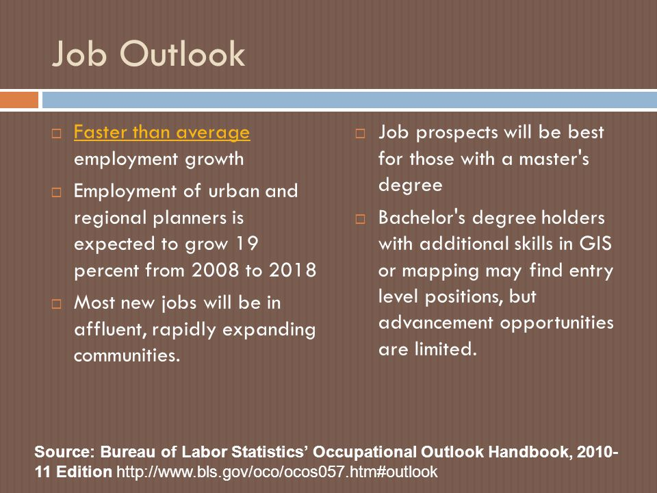 Job Outlook  Faster than average employment growth Faster than average  Employment of urban and regional planners is expected to grow 19 percent from 2008 to 2018  Most new jobs will be in affluent, rapidly expanding communities.