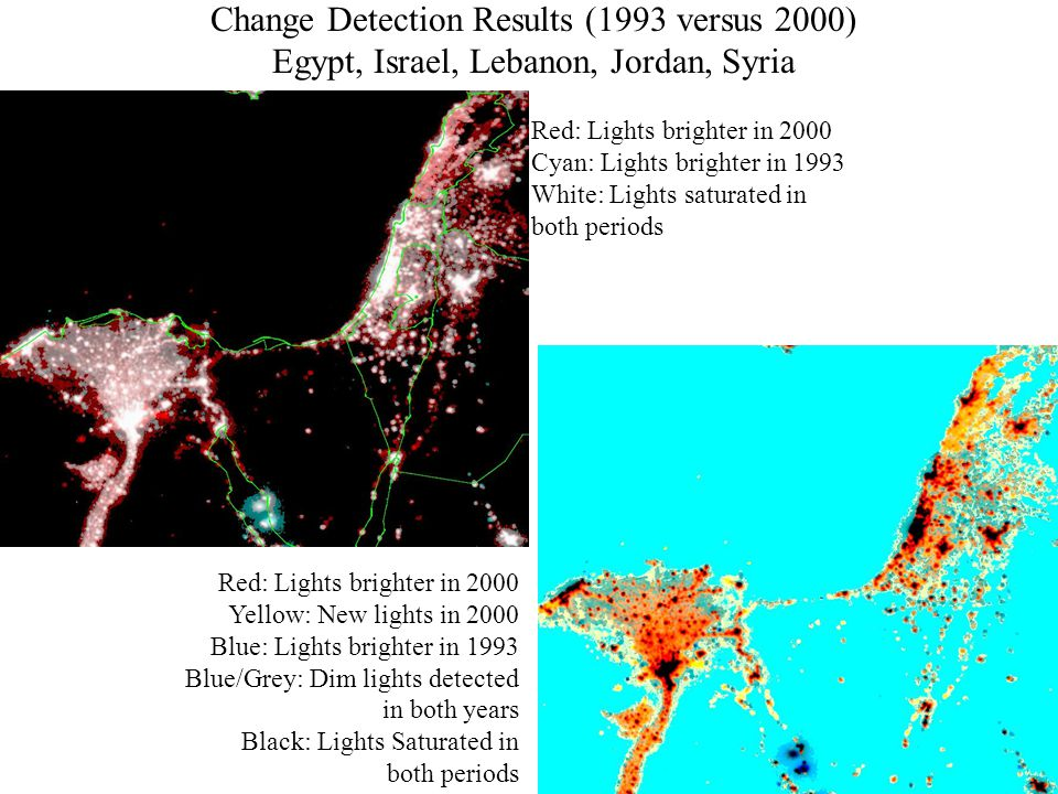 Red: Lights brighter in 2000 Cyan: Lights brighter in 1993 White: Lights saturated in both periods Red: Lights brighter in 2000 Yellow: New lights in 2000 Blue: Lights brighter in 1993 Blue/Grey: Dim lights detected in both years Black: Lights Saturated in both periods Change Detection Results (1993 versus 2000) Egypt, Israel, Lebanon, Jordan, Syria