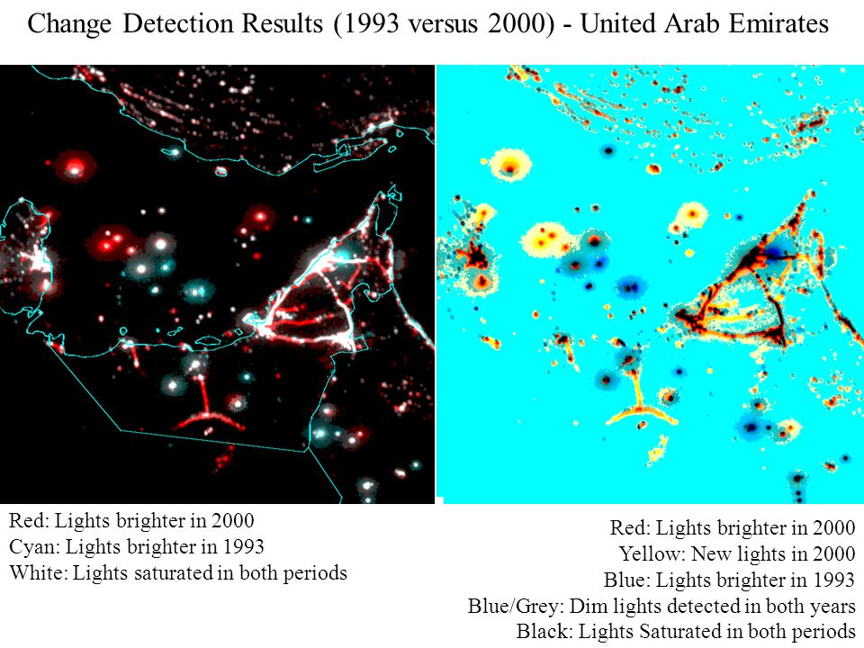 Red: Lights brighter in 2000 Cyan: Lights brighter in 1993 White: Lights saturated in both periods Red: Lights brighter in 2000 Yellow: New lights in 2000 Blue: Lights brighter in 1993 Blue/Grey: Dim lights detected in both years Black: Lights Saturated in both periods Change Detection Results (1993 versus 2000) - United Arab Emirates