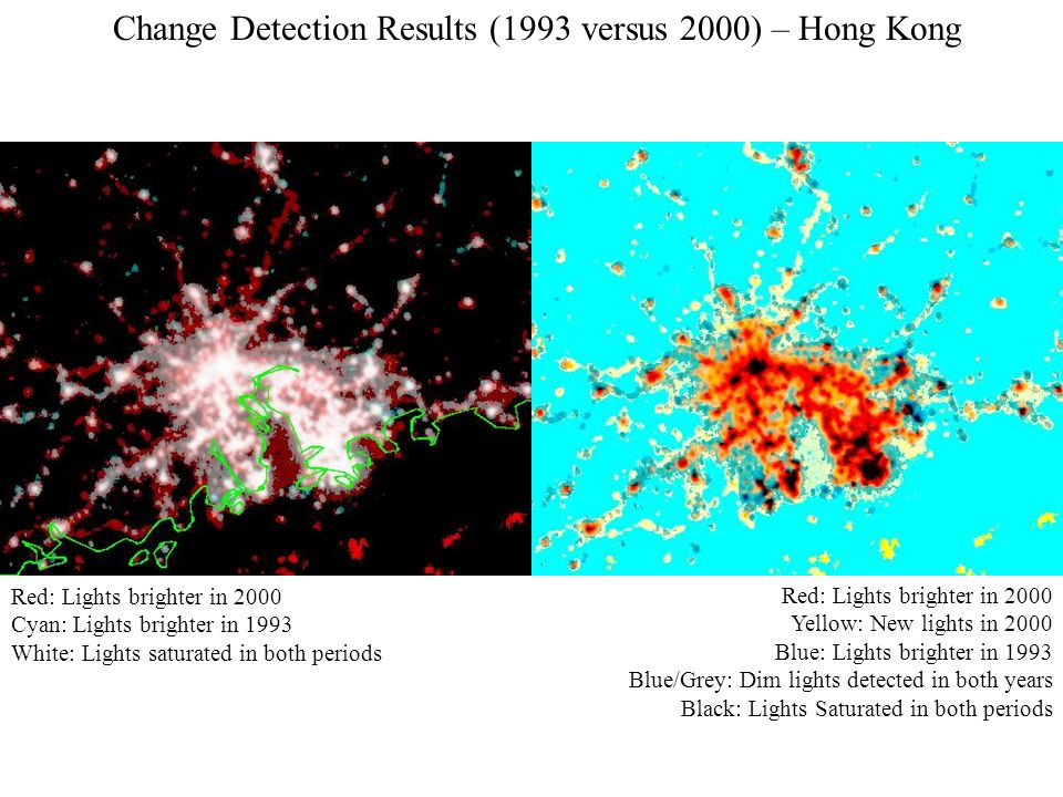 Red: Lights brighter in 2000 Cyan: Lights brighter in 1993 White: Lights saturated in both periods Red: Lights brighter in 2000 Yellow: New lights in 2000 Blue: Lights brighter in 1993 Blue/Grey: Dim lights detected in both years Black: Lights Saturated in both periods Change Detection Results (1993 versus 2000) – Hong Kong