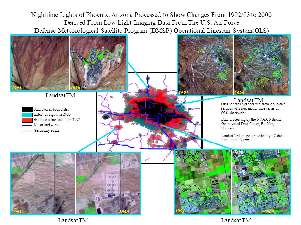 Nighttime Lights of Phoenix, Arizona Processed to Show Changes From 1992/93 to 2000 Derived From Low Light Imaging Data From The U.S.