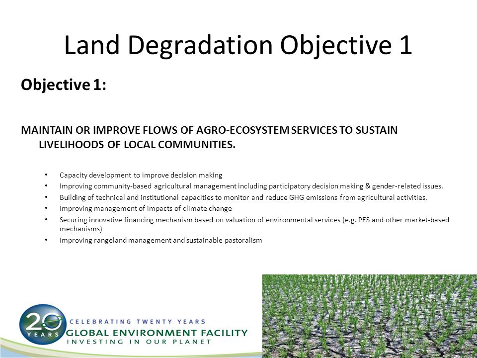 Land Degradation Objective 1 Objective 1: MAINTAIN OR IMPROVE FLOWS OF AGRO-ECOSYSTEM SERVICES TO SUSTAIN LIVELIHOODS OF LOCAL COMMUNITIES.