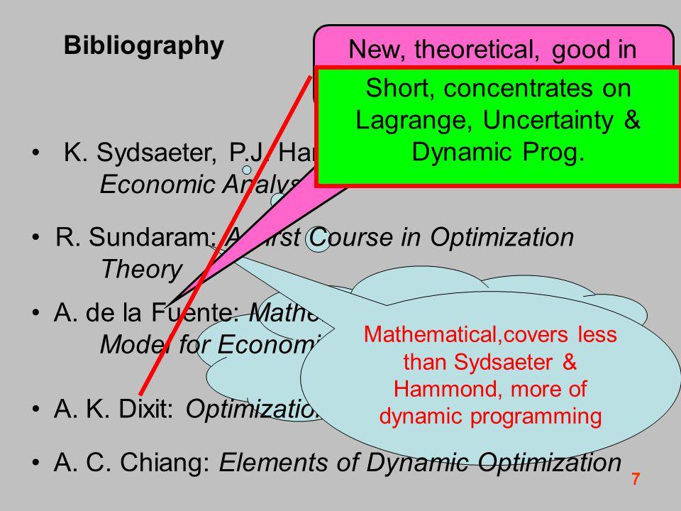 8 Bibliography K.Sydsaeter, P.J. Hammond: Mathematics for Economic Analysis R.