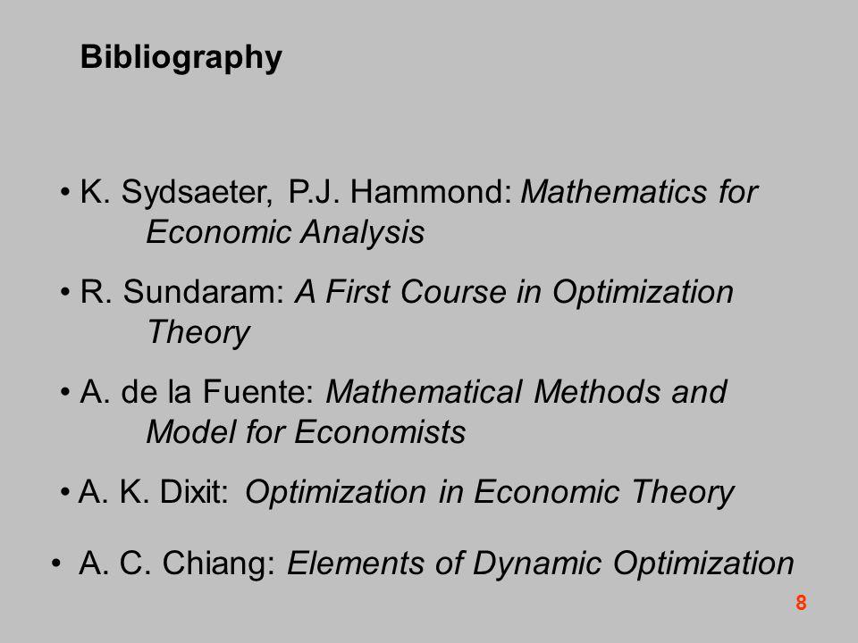 8 Bibliography K. Sydsaeter, P.J. Hammond: Mathematics for Economic Analysis R.