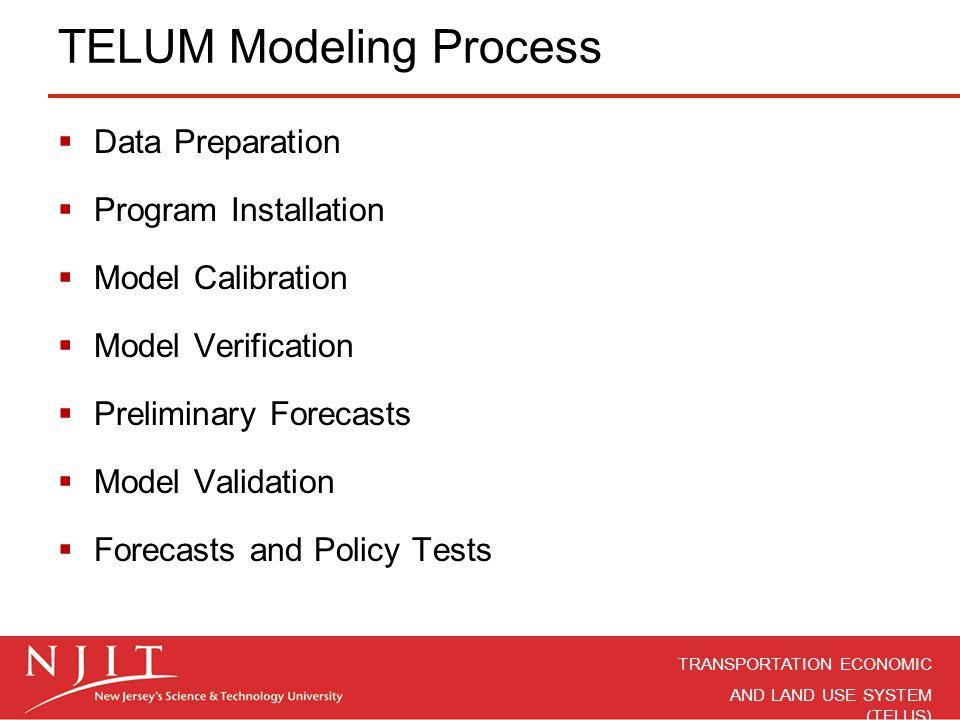 TRANSPORTATION ECONOMIC AND LAND USE SYSTEM (TELUS)  Data Preparation  Program Installation  Model Calibration  Model Verification  Preliminary F