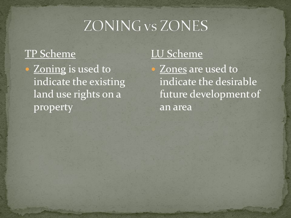 TP Scheme Zoning is used to indicate the existing land use rights on a property LU Scheme Zones are used to indicate the desirable future development