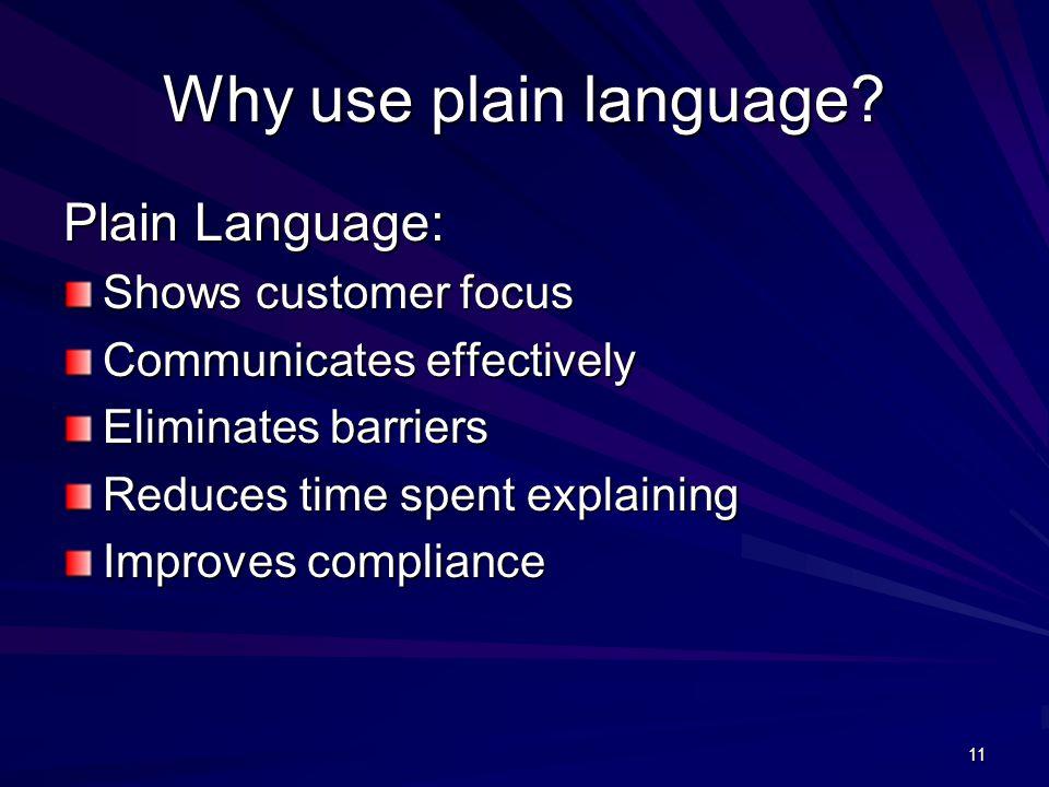 11 Why use plain language.