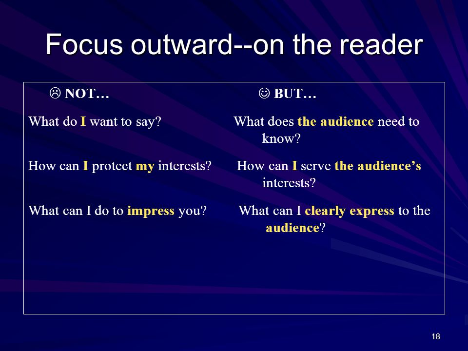 18 Focus outward--on the reader  NOT… BUT… What do I want to say.