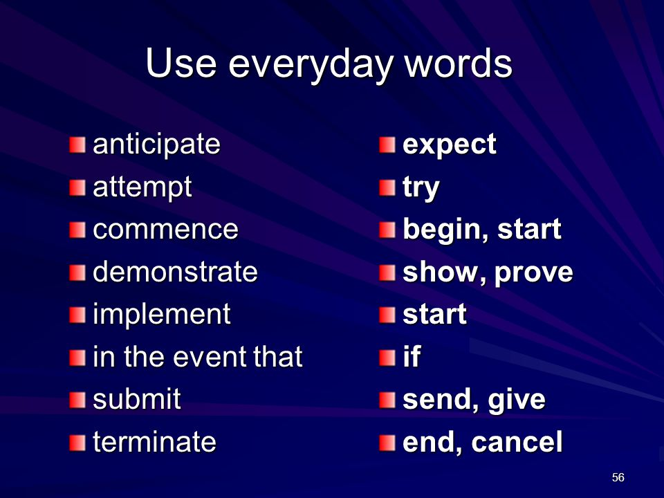 56 Use everyday words anticipateattemptcommencedemonstrateimplement in the event that submitterminateexpecttry begin, start show, prove startif send, give end, cancel