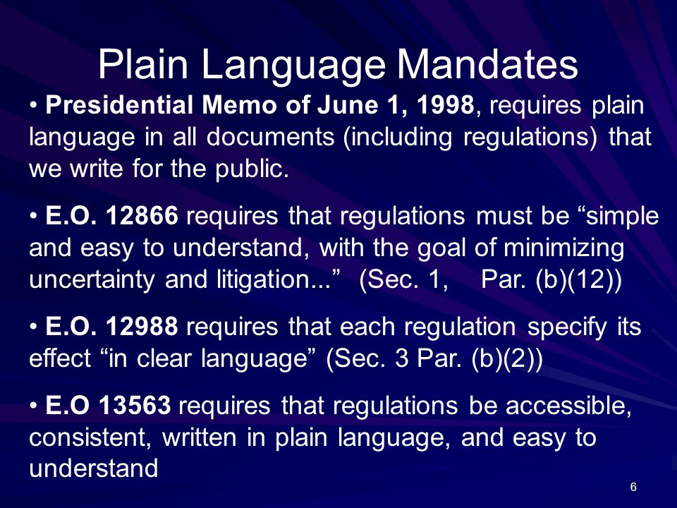6 Presidential Memo of June 1, 1998, requires plain language in all documents (including regulations) that we write for the public.