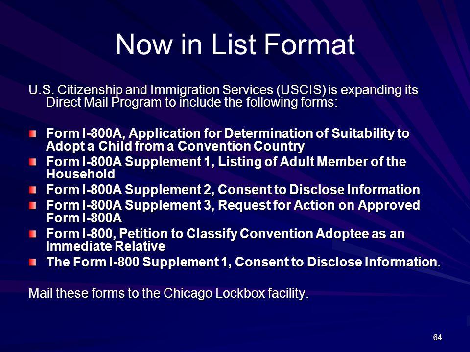 64 Now in List Format U.S.