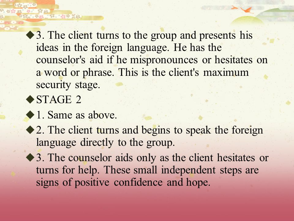  3.The client turns to the group and presents his ideas in the foreign language.