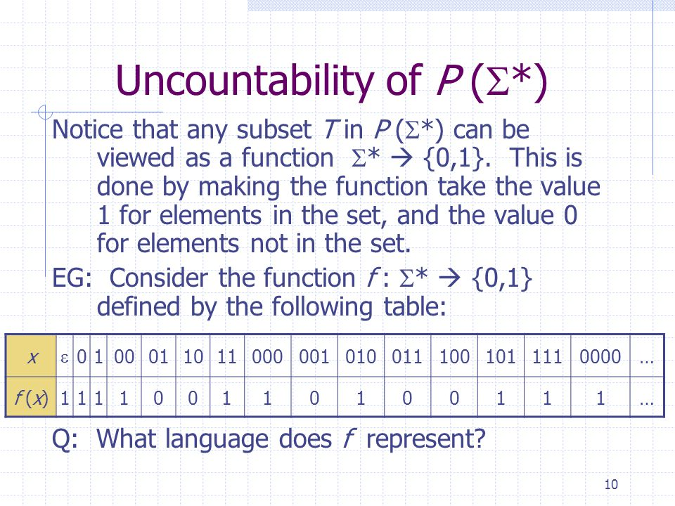 10 Uncountability of P (  *) Notice that any subset T in P (  *) can be viewed as a function  *  {0,1}. This is done by making the function take t