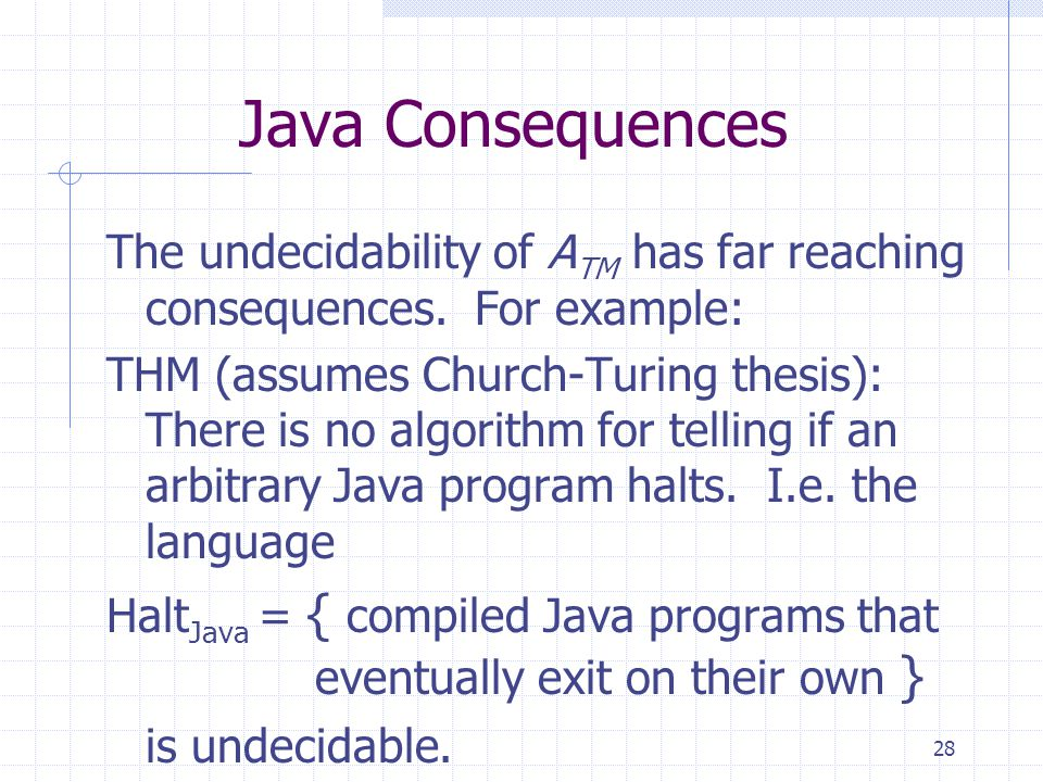 28 Java Consequences The undecidability of A TM has far reaching consequences. For example: THM (assumes Church-Turing thesis): There is no algorithm