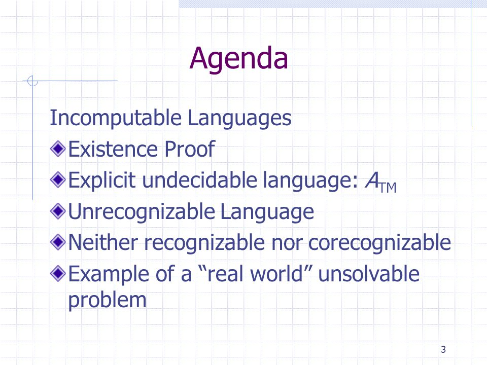 3 Agenda Incomputable Languages Existence Proof Explicit undecidable language: A TM Unrecognizable Language Neither recognizable nor corecognizable Example of a real world unsolvable problem