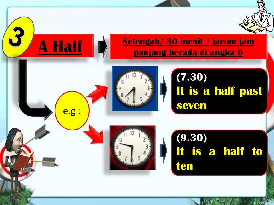 To 2 Kurang e.g : (7.40) It is twenty to eight (9.50) It is ten to ten