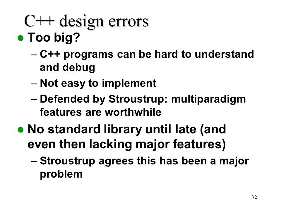32 C++ design errors Too big.