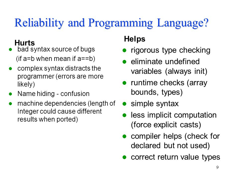 Reliability and Programming Language.