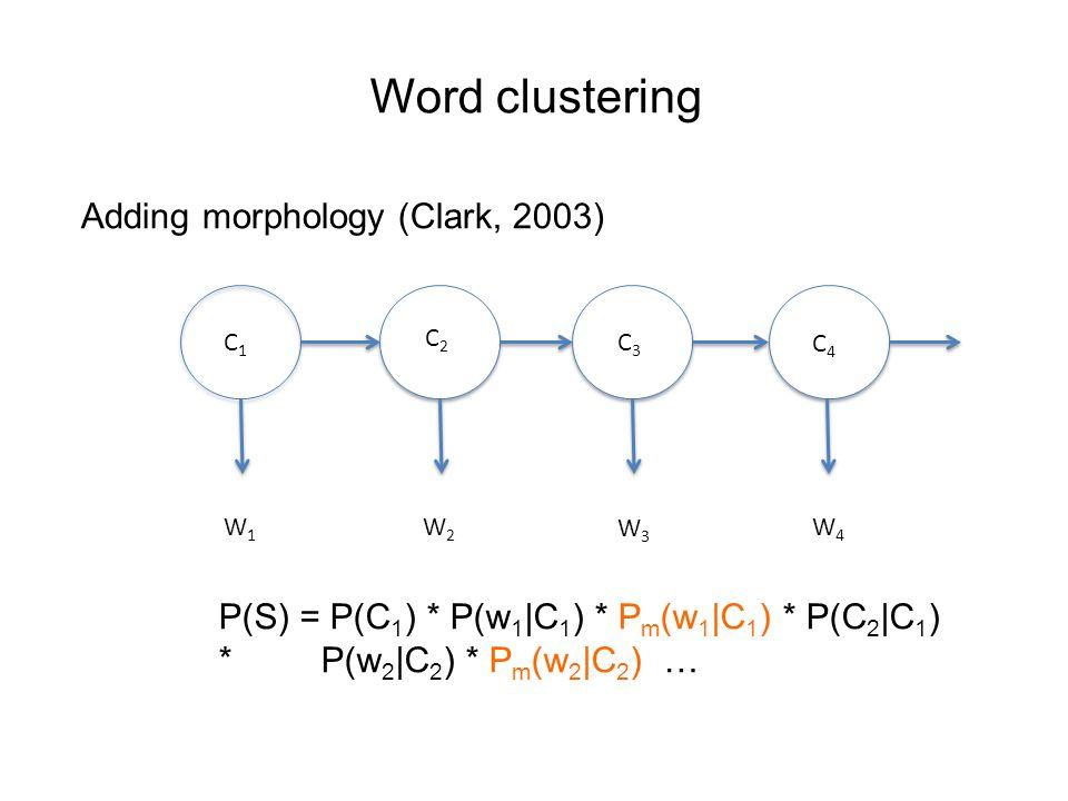 Word clustering Adding morphology (Clark, 2003) W1W1 W2W2 W4W4 W3W3 C3C3 C2C2 C4C4 C1C1 P(S) = P(C 1 ) * P(w 1 |C 1 ) * P m (w 1 |C 1 ) * P(C 2 |C 1 ) * P(w 2 |C 2 ) * P m (w 2 |C 2 ) …
