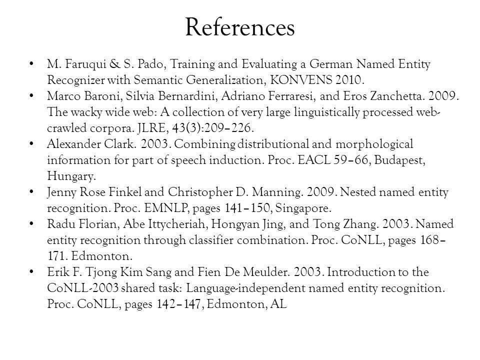 References M. Faruqui & S.