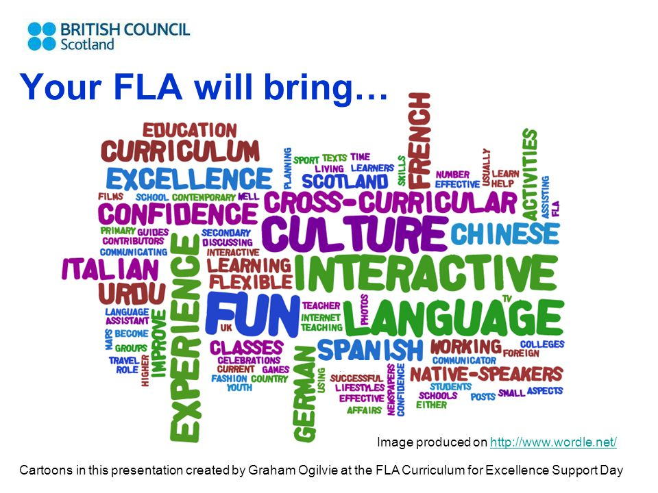 Your FLA will bring… Image produced on http://www.wordle.net/http://www.wordle.net/ Cartoons in this presentation created by Graham Ogilvie at the FLA