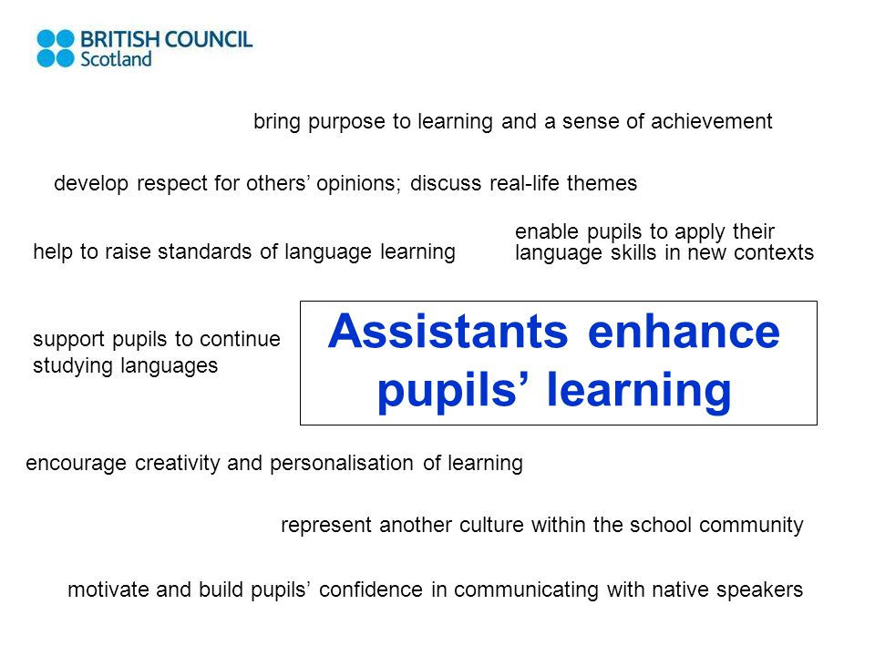 Assistants enhance pupils' learning motivate and build pupils' confidence in communicating with native speakers bring purpose to learning and a sense of achievement develop respect for others' opinions; discuss real-life themes help to raise standards of language learning enable pupils to apply their language skills in new contexts support pupils to continue studying languages encourage creativity and personalisation of learning represent another culture within the school community