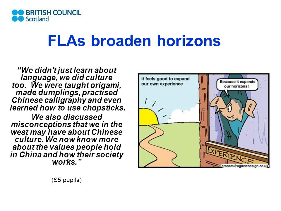 """FLAs broaden horizons """"We didn't just learn about language, we did culture too. We were taught origami, made dumplings, practised Chinese calligraphy"""