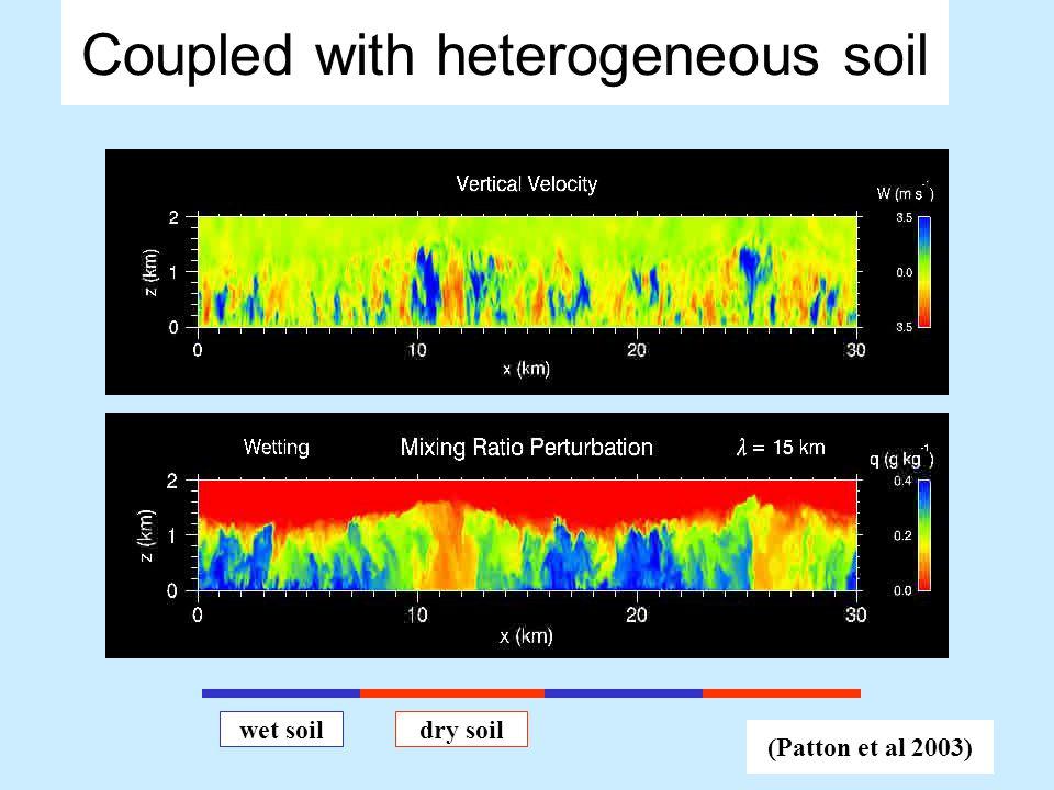 Coupled with heterogeneous soil Surface model Wet soil Dry soil the ground LES model Land model