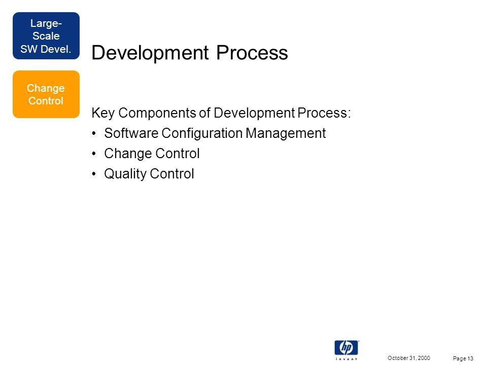 Large- Scale SW Devel. October 31, 2000 Page 13 Development Process Key Components of Development Process: Software Configuration Management Change Co