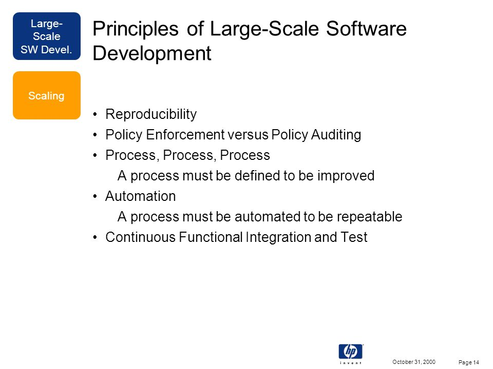 Large- Scale SW Devel. October 31, 2000 Page 14 Principles of Large-Scale Software Development Reproducibility Policy Enforcement versus Policy Auditi