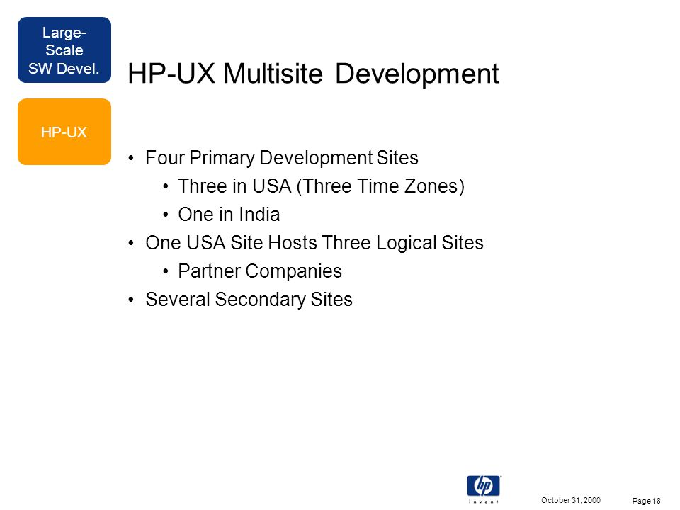Large- Scale SW Devel. October 31, 2000 Page 18 HP-UX Multisite Development Four Primary Development Sites Three in USA (Three Time Zones) One in Indi