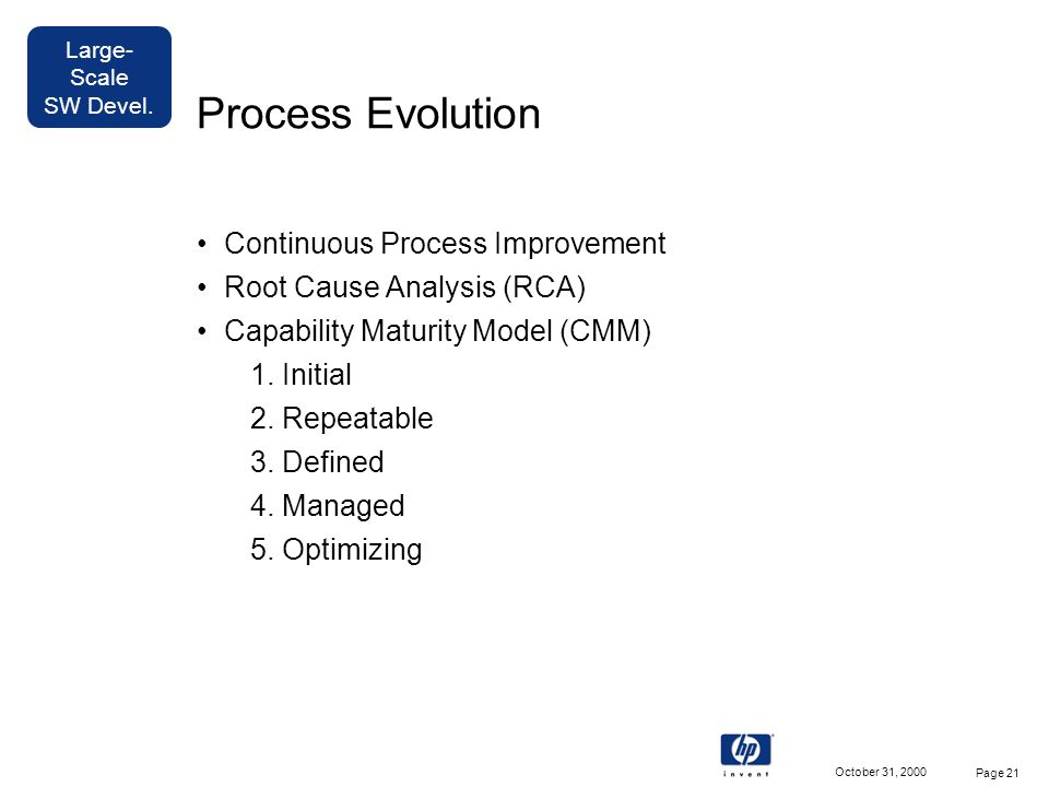 Large- Scale SW Devel. October 31, 2000 Page 21 Process Evolution Continuous Process Improvement Root Cause Analysis (RCA) Capability Maturity Model (