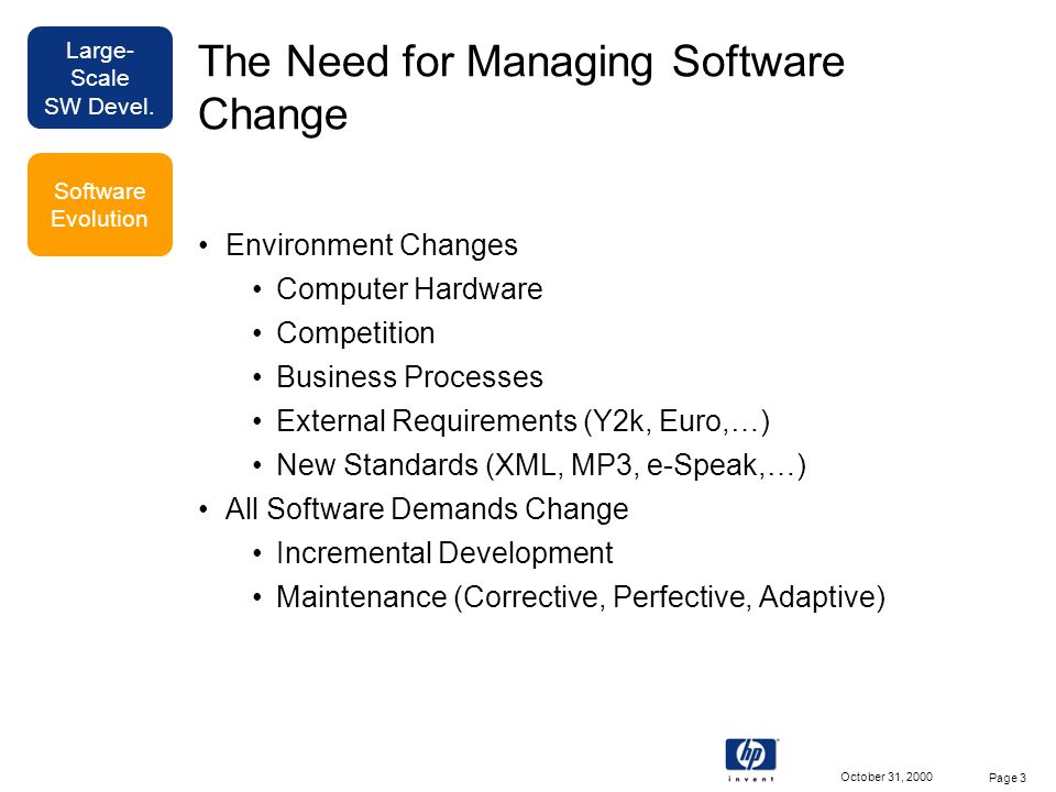 Large- Scale SW Devel. October 31, 2000 Page 3 The Need for Managing Software Change Environment Changes Computer Hardware Competition Business Proces