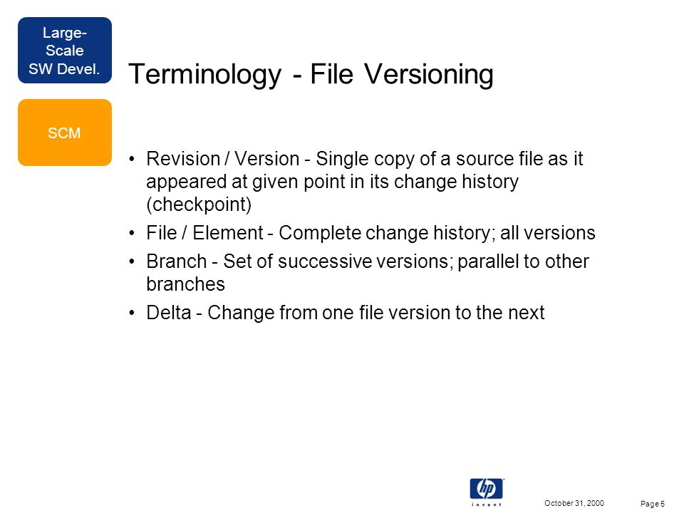 Large- Scale SW Devel. October 31, 2000 Page 5 Terminology - File Versioning Revision / Version - Single copy of a source file as it appeared at given