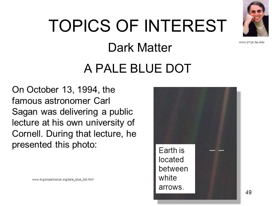 49 TOPICS OF INTEREST Dark Matter A PALE BLUE DOT www.phys.lsu.edu On October 13, 1994, the famous astronomer Carl Sagan was delivering a public lectu