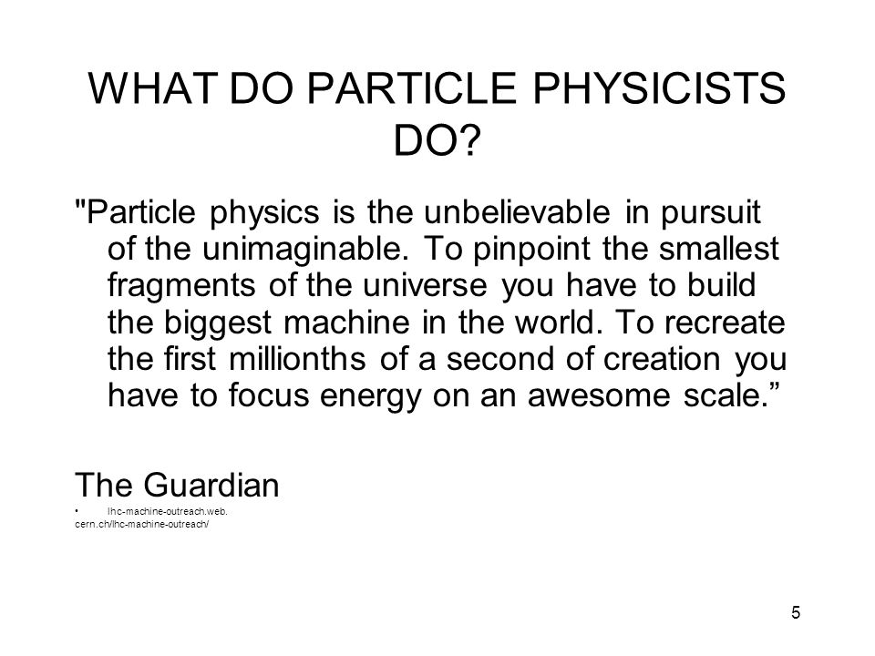 5 WHAT DO PARTICLE PHYSICISTS DO?