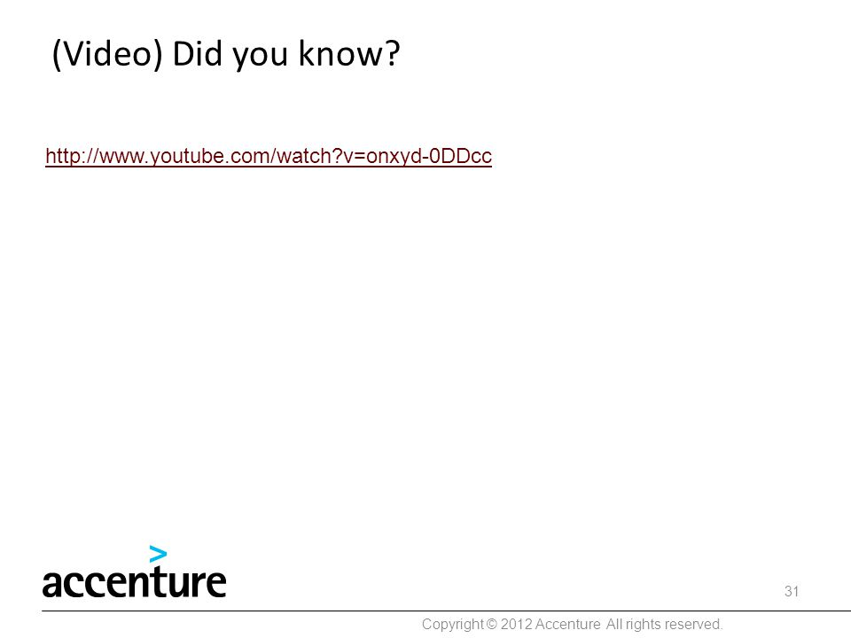 (Video) Did you know? Copyright © 2012 Accenture All rights reserved. 31 http://www.youtube.com/watch?v=onxyd-0DDcc