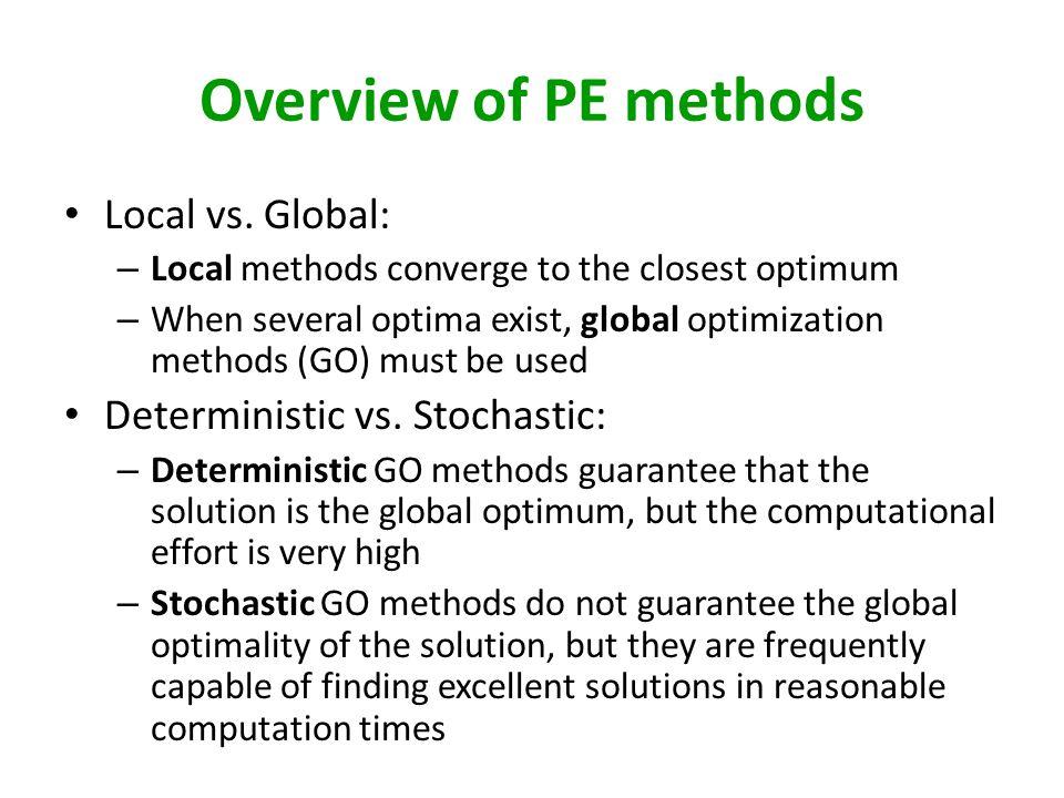 Overview of PE methods Local vs.