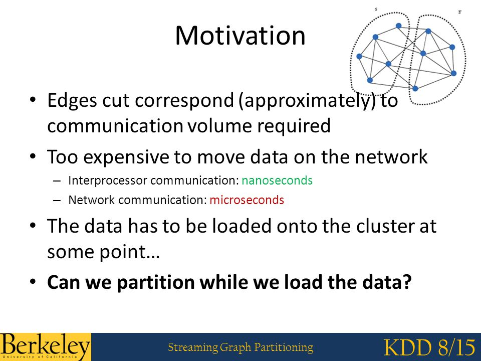 Streaming Graph Partitioning KDD 8/15 Scaling in the Size of Graphs: Exploiting Synthetic Graphs LDG Hash METIS