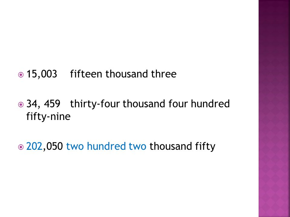  15,003 fifteen thousand three  34, 459 thirty-four thousand four hundred fifty-nine  202,050 two hundred two thousand fifty