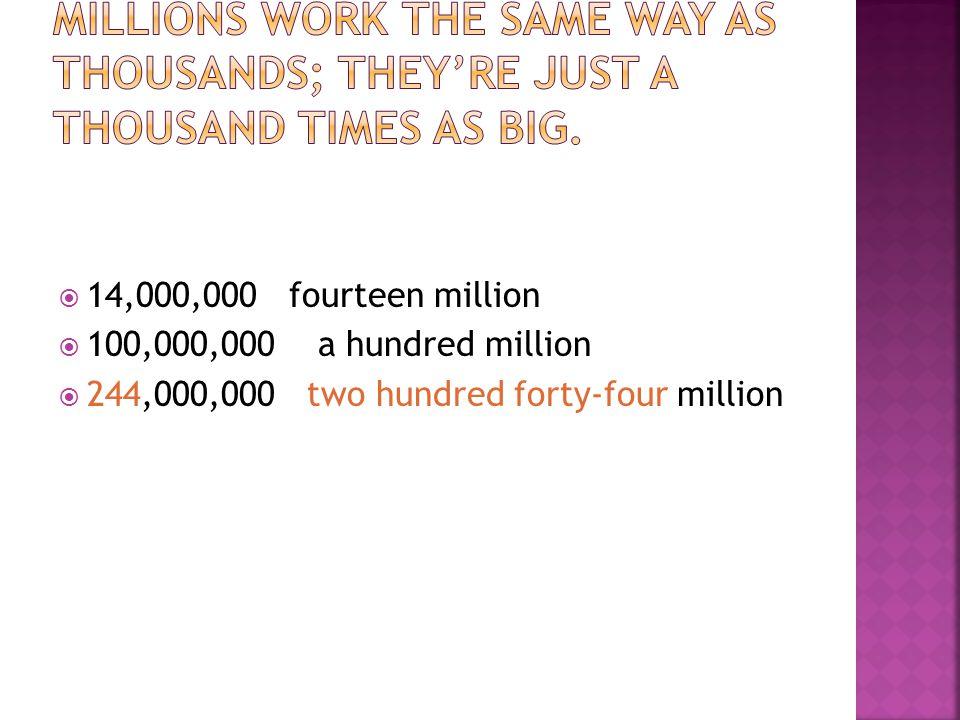  14,000,000 fourteen million  100,000,000 a hundred million  244,000,000 two hundred forty-four million