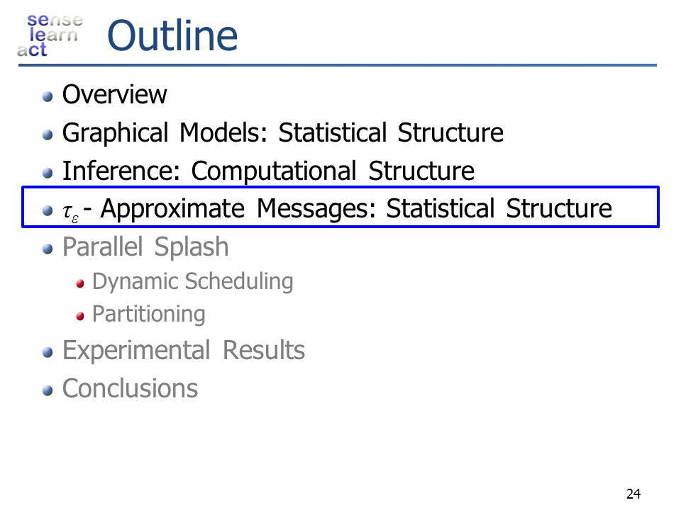 Outline Overview Graphical Models: Statistical Structure Inference: Computational Structure τ ε - Approximate Messages: Statistical Structure Parallel